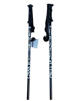 WSD Downhill/Alpine Aluminum Ski Poles Pick Size Pair with Baskets 2018 Model, Black/Silver