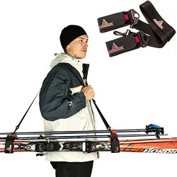 Athletrek Ski and Pole Carrier Strap with Durable Cushioned Velcro to Protect Skis from scratche ...
