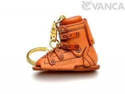 Ski Boot Sports 3D Leather Keychain(L) VANCA CRAFT-Collectible Keyring Charm Pendant Made in Japan