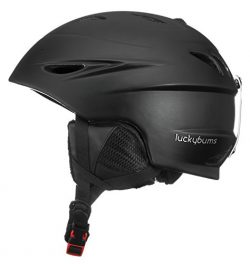 Lucky Bums Alpine Men Women Audio Chip Ready Ski Helmet, Matte Black, L
