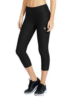 Baleaf Women's Yoga Capri Pants Compression Tights Running Legging Hidden Pocket Black Size S