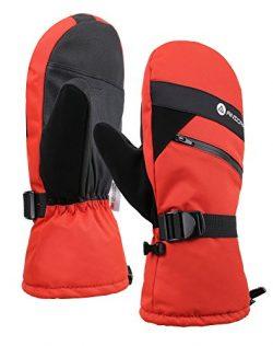 Andorra Men Cross Country Textured Touchscreen Ski Mittens w/Zippered,Orange,S/M