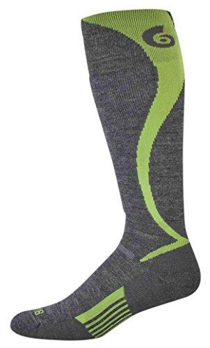 "point6 Women's Ski/Carve Light ""Over The Calf"" Socks, Gray/Bright Lime, Small"