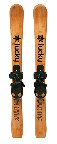 Lucky Bums Wooden Heirloom Kids Skis With Bindings, 90 cm