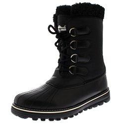 Polar Products Womens Warm Duck Winter Rain Fleece Snow Waterproof Mid Calf Boots – Black  ...