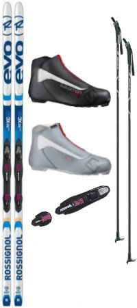 Rossignol Evo XC 60 Tour Cross Country Ski Package (Skis, Boots, Bindings, Poles)