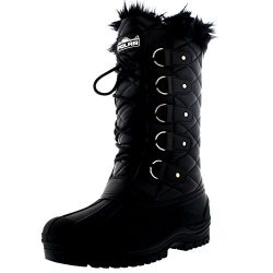Polar Products Womens Waterproof Tactical Mountain Walking Snow Knee Boots – Black Leather ...