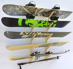 Snowboard Ski Hanging Wall Rack — Holds 5 Boards