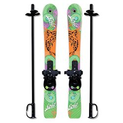 SOLA Winnter Sports Kid's Beginner Snow Skis and Poles With Bindings Age 2- 4 (Tiger)
