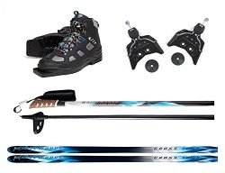 New Whitewoods 75mm 3Pin Cross Country Package Skis Boots Bindings Poles 177cm (41, 121-150lbs.)