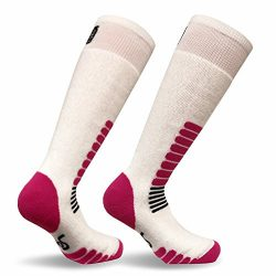 Eurosocks Micro-Supreme Over The Calf Ski Zone Socks,White/Pink, Medium