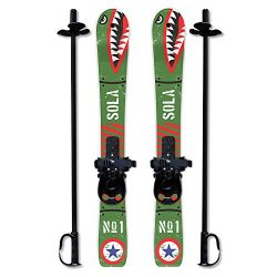 SOLA Winnter Sports Kid's Beginner Snow Skis and Poles With Bindings Age 2- 4 (Bomber)