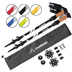 TrailBuddy Trekking Poles – 2-pc Pack Adjustable Hiking or Walking Sticks – Strong,  ...