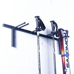 Ski Rack Snowboard Rack Wall Mount Pole Rack for Garage Storage, Black