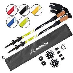 TrailBuddy Trekking Poles – 2-pc Pack Adjustable Hiking or Walking Sticks – Strong,  ...