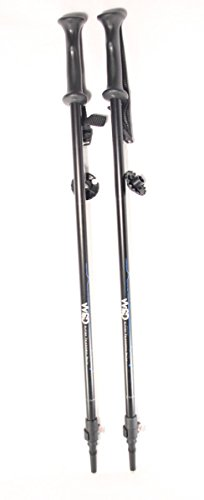 Ski poles Telescopic adjustable Collapsible Adult alpine downhill pair with baskets black/silver ...