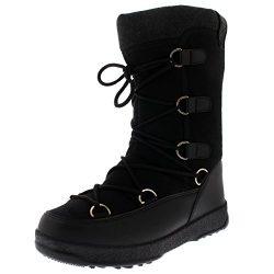 Polar Products Womens Fleece Thermal Waterproof Winter Durable Snow Knee Boots – Black Tex ...