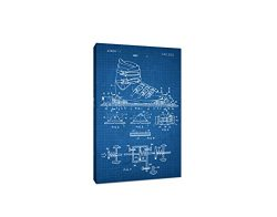 Ski Binding Canvas (White on Blue Graph) – Sports Patents – 20×12 Gallery Wrapp ...