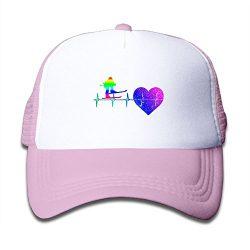 Ski Skiing Lover Heartbeat Rainbow Glitter Child Baby Kid Adjustable Trucker Hat Summer Snapback