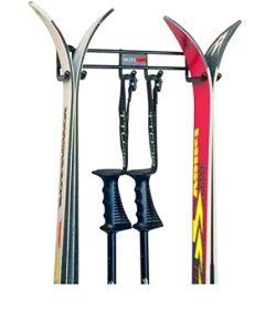 Horizontal Ski Rack, Steel Material, Black Color, Wall Mounted, 2 Skiis Capacity, Easy Installat ...