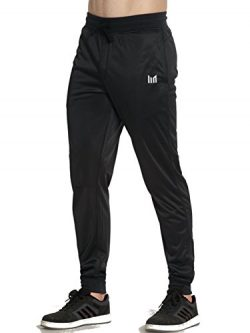 MOFEVER Men Basic Black Active Fleece Pant Training Jogger Ribbed Ankle With Pockets For Indoor  ...