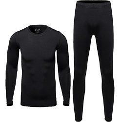 Hi-crazystore Men's Underwear Winter Ski Fleece Thermal Set Warm Top and Bottom (XL)