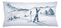 Winter Throw Pillow Cushion Cover by Ambesonne, Sketchy Graphic of a Downhill with Ski Elements  ...
