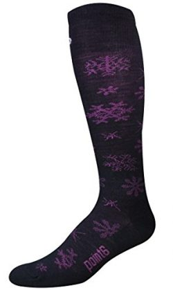 Point6 Women's Ski Blizzard Ultra Light Over The Calf Socks, Black/Fuchsia, Medium