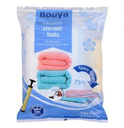 BOUYA 8 Pack Premium Compressed Storage Bags Travel Space Saver Double-Zip Seal with Free Hand-P ...
