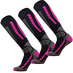Ski Socks – Best Lightweight Warm Skiing Socks (Black/Neon Pink – 3 Pack, Small / Me ...
