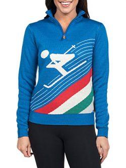 Tipsy Elves Women's Downhill Demon Half Zip Ski Sweater – Cute Blue Apres Ski Sweate ...