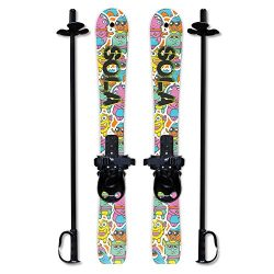 SOLA Winnter Sports Kid's Beginner Snow Skis and Poles With Bindings Age 2- 4 (Gaggle)