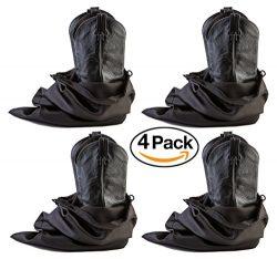 Large Boot Bag, Cowboy Boot Bag w/ Locking Drawstring (Black) -Set of 4 Travel Boot Bags, 23R ...