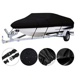 Bass Tracker Boat Cover, Waterproof Fishing Boat Cover w/ Tie Down System, 600 Denier Tri-Hull V ...