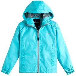 Wantdo Girl's Light Weight Spring Jacket Hooded Wind Breaker Mesh Lined Rainwear For Runni ...