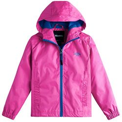 Wantdo Girl's Windproof Lightweight Soft Shell Jacket With Hood Raincoats For Walking(Rose ...