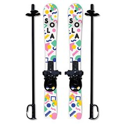 SOLA Winnter Sports Kid's Beginner Snow Skis and Poles With Bindings Age 2- 4 (Memphis)