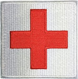 Medic Red Cross Sewing Iron on Embroidered Applique Patch 3″x3″ Red on White by Rang ...