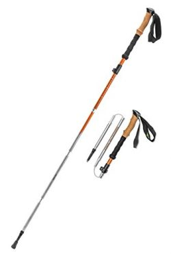 Vertex Compact and Lightweight Collapsible Aluminum Hiking and Trekking Poles, Cork Handle, Pair