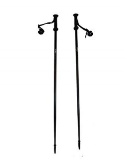 WSD Alpine Downhill Ski Poles Adult Aluminum with Baskets Pair New, 125 cm/50″, Black