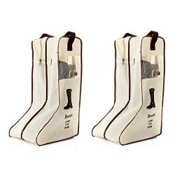 Portable 2 Packs,Tall Boots Storage/Protector Bag,Boots Cover by Rekukos (Cream)