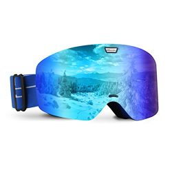 VELLAA Ski Goggles, Detachable Frame-less Anti Fog Lens 100% UV400 Protection OTG Snowboarding G ...