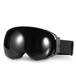 Ski Goggles, Hicool Pro Ski Snowboard Skating Goggle with Mirrored Lens Anti-fog UV Protection D ...