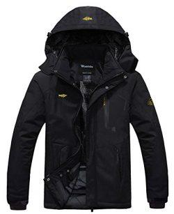 Wantdo Men's Waterproof Mountain Jacket Fleece Windproof Ski Jacket US S   Black S