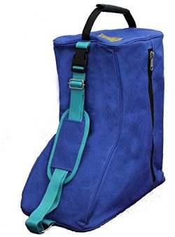 Tahoe 3 Layers Padded Western Boot Carry Bags, Royal Blue/Turquoise Trim