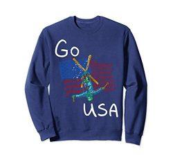 Unisex Freestyle skiing Ski Sport Go USA Sweatshirt Small Navy