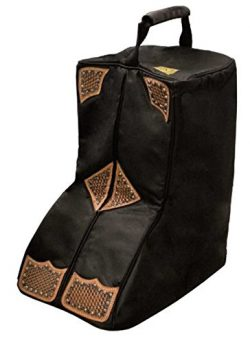 Tahoe Tack Durango Western Boot Carry Bag 3 Layers Padded with Hand Tooled Basket Weave Leather  ...