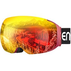 ENKEEO Ski Goggles Detachable Dual Layer Anti-Fog Lens 100% UV400 Protection, Bendable Frame, An ...