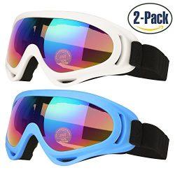 Ski Goggles, Pack of 2, Skate Glasses for Kids, Boys & Girls, Youth, Men & Women, with U ...