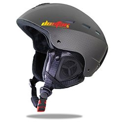 Dostar Adult Youth Ski Snow Sports Helmet with the warm Fleece Liner (Black, M)